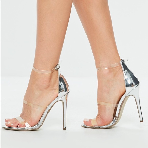 3ee9878987d MISSGUIDED Silver   Clear Strapped High-Heels. M 5b943eb19fe4865f364c2731